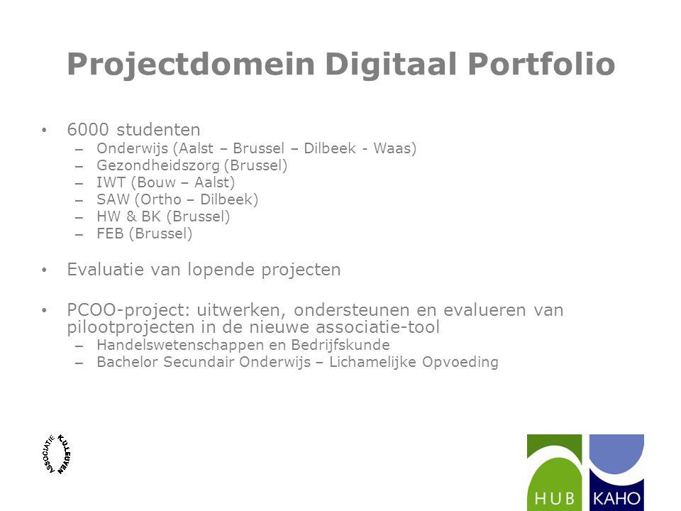 Projectdomein Digitaal Portfolio 6000 studenten – Onderwijs (Aalst – Brussel – Dilbeek - Waas) – Gezondheidszorg (Brussel) – IWT (Bouw – Aalst) – SAW