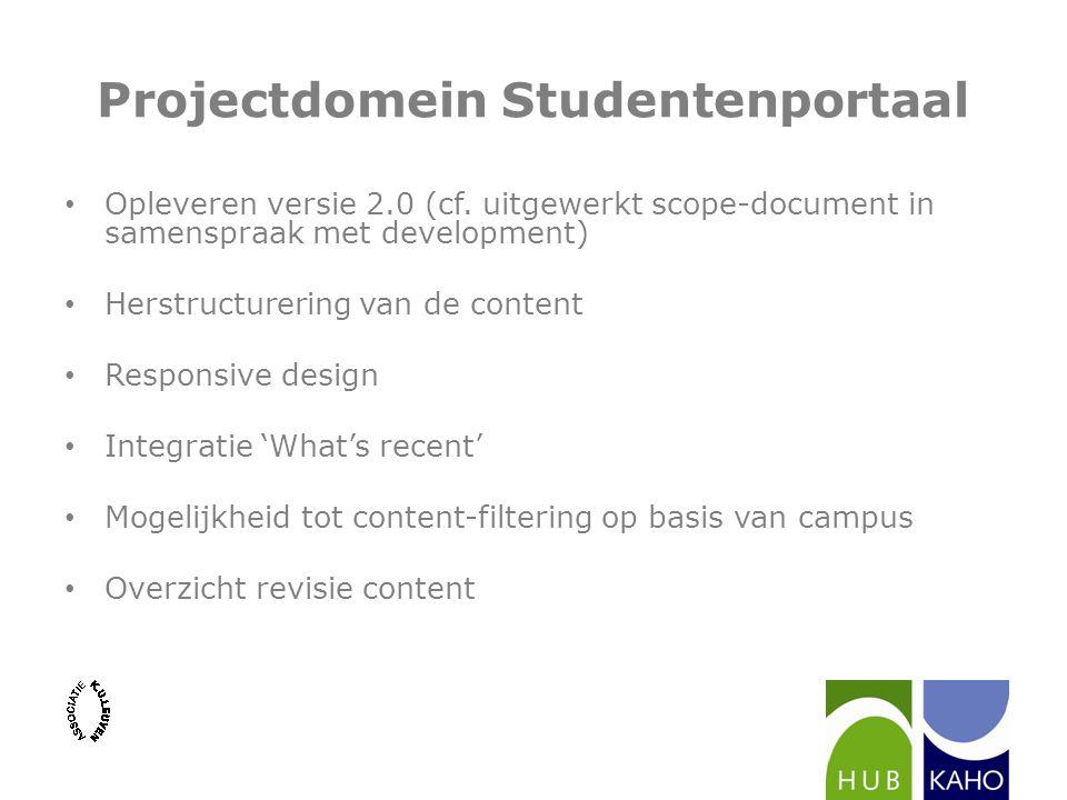 Projectdomein Studentenportaal Opleveren versie 2.0 (cf. uitgewerkt scope-document in samenspraak met development) Herstructurering van de content Res