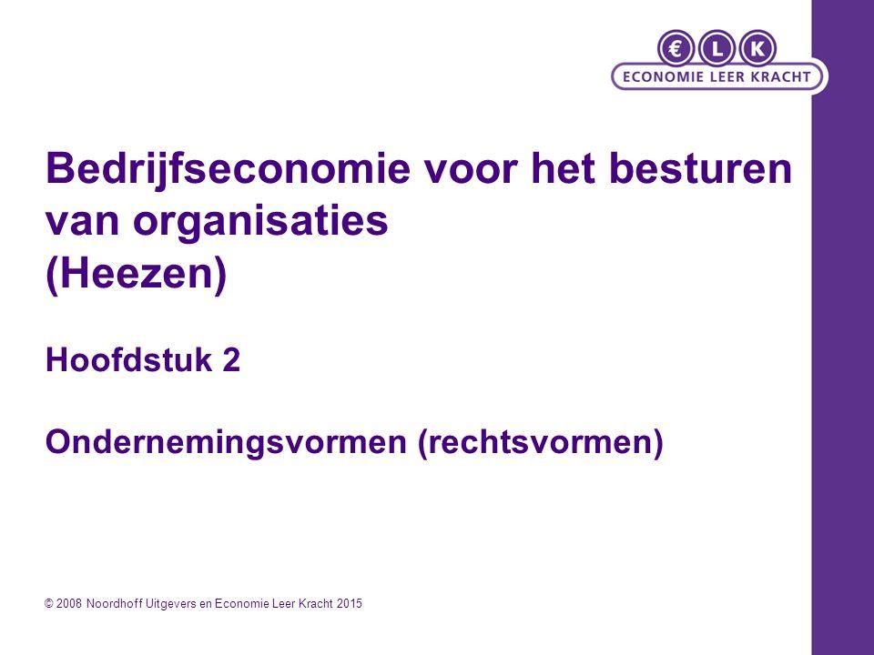 Bedrijfseconomie voor het besturen van organisaties (Heezen) Hoofdstuk 2 Ondernemingsvormen (rechtsvormen) © 2008 Noordhoff Uitgevers en Economie Leer Kracht 2015