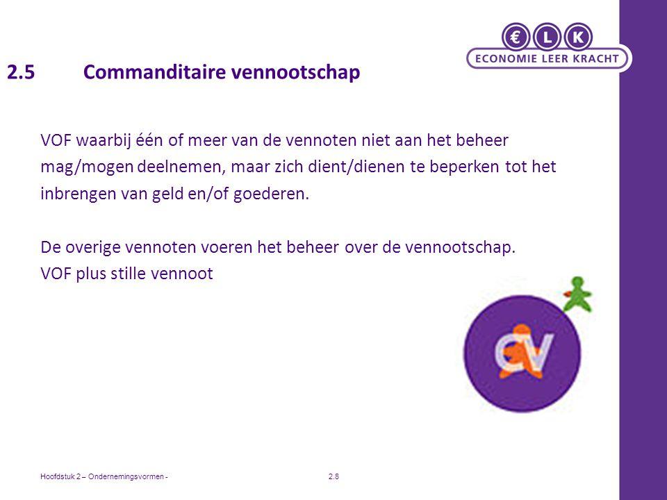 Hoofdstuk 2 – Ondernemingsvormen -2.8 2.5 Commanditaire vennootschap VOF waarbij één of meer van de vennoten niet aan het beheer mag/mogen deelnemen, maar zich dient/dienen te beperken tot het inbrengen van geld en/of goederen.