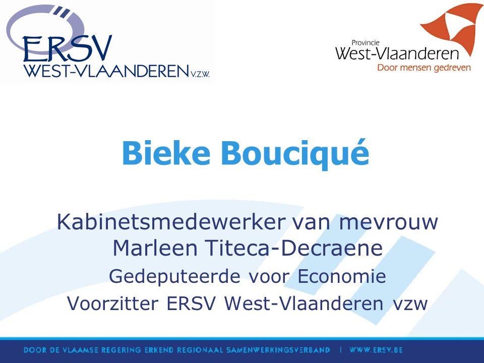 Bieke Bouciqué Kabinetsmedewerker van mevrouw Marleen Titeca-Decraene Gedeputeerde voor Economie Voorzitter ERSV West-Vlaanderen vzw