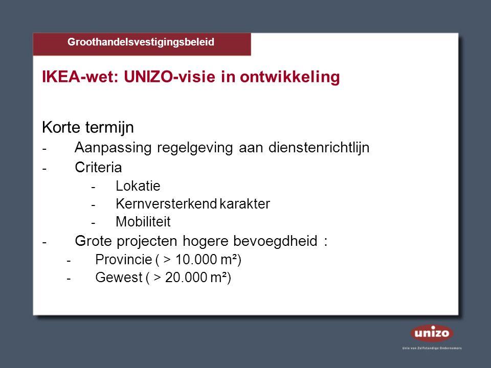 IKEA-wet: UNIZO-visie in ontwikkeling Korte termijn - Aanpassing regelgeving aan dienstenrichtlijn - Criteria - Lokatie - Kernversterkend karakter - Mobiliteit - Grote projecten hogere bevoegdheid : - Provincie ( > 10.000 m²) - Gewest ( > 20.000 m²) Groothandelsvestigingsbeleid