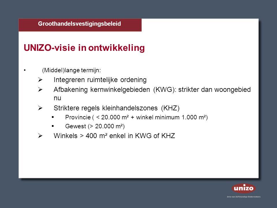 UNIZO-visie in ontwikkeling (Middel)lange termijn:  Integreren ruimtelijke ordening  Afbakening kernwinkelgebieden (KWG): strikter dan woongebied nu  Striktere regels kleinhandelszones (KHZ)  Provincie ( < 20.000 m² + winkel minimum 1.000 m²)  Gewest (> 20.000 m²)  Winkels > 400 m² enkel in KWG of KHZ Groothandelsvestigingsbeleid