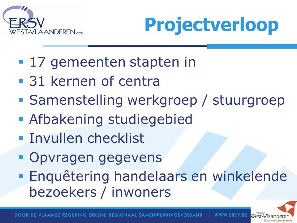Projectverloop  17 gemeenten stapten in  31 kernen of centra  Samenstelling werkgroep / stuurgroep  Afbakening studiegebied  Invullen checklist  Opvragen gegevens  Enquêtering handelaars en winkelende bezoekers / inwoners