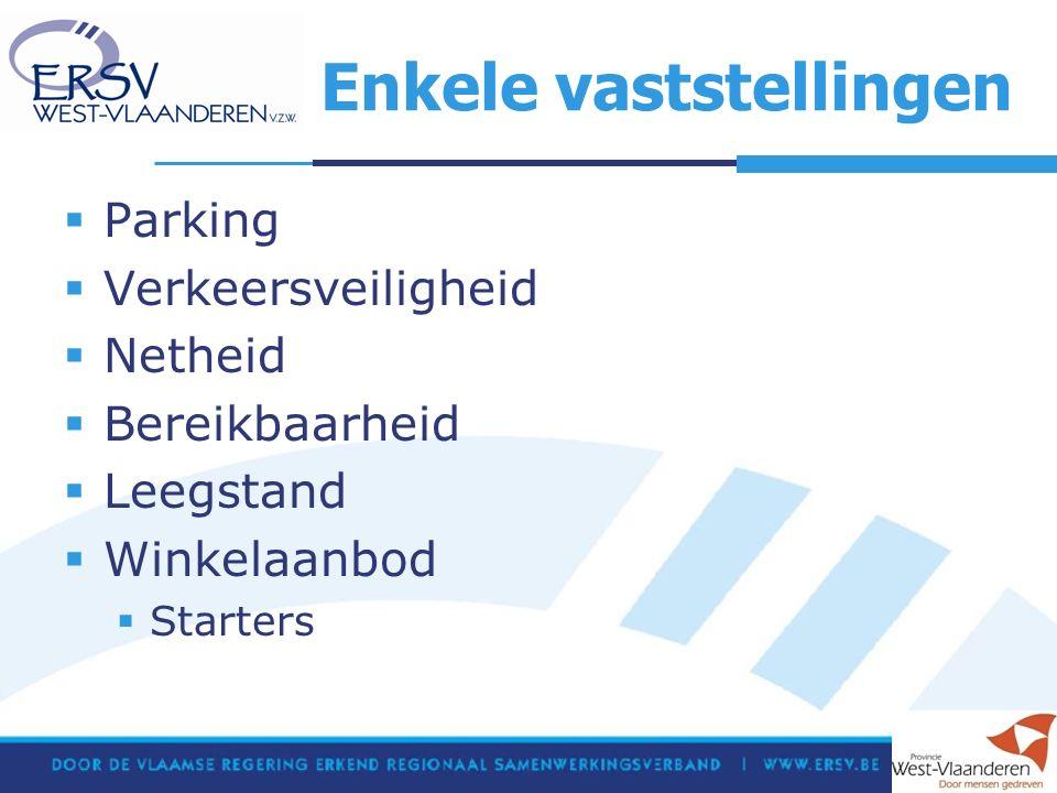 Enkele vaststellingen  Parking  Verkeersveiligheid  Netheid  Bereikbaarheid  Leegstand  Winkelaanbod  Starters