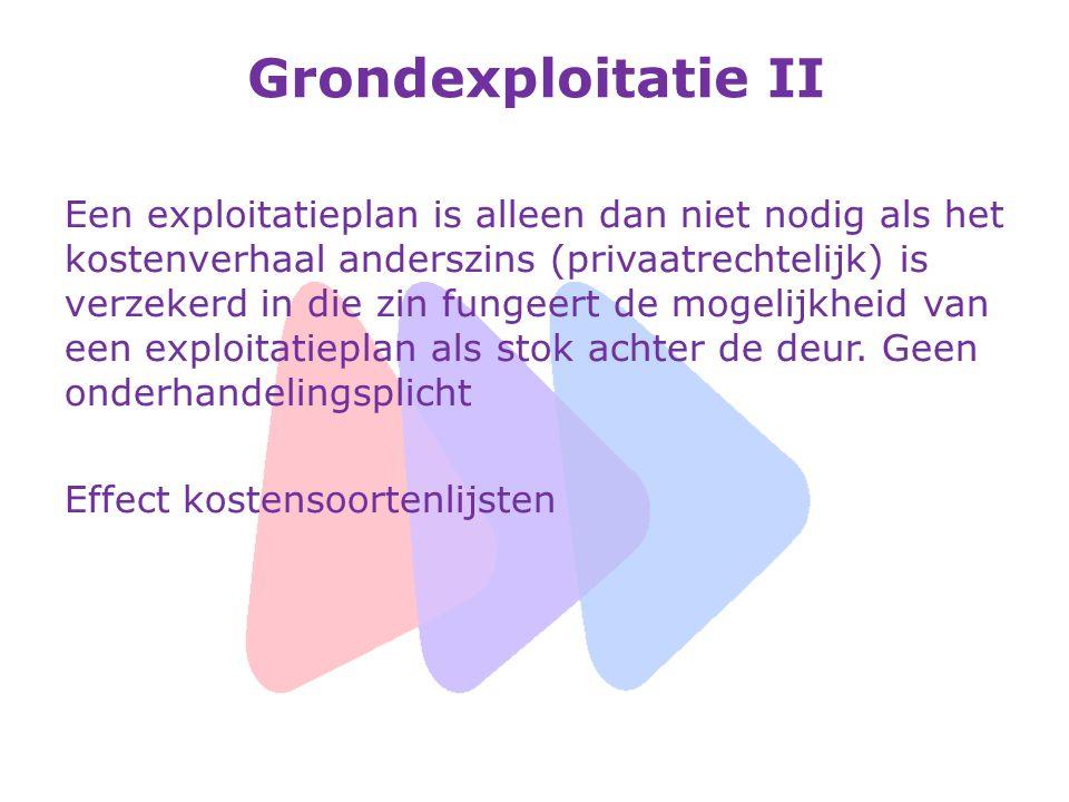 Grondexploitatie II Een exploitatieplan is alleen dan niet nodig als het kostenverhaal anderszins (privaatrechtelijk) is verzekerd in die zin fungeert de mogelijkheid van een exploitatieplan als stok achter de deur.