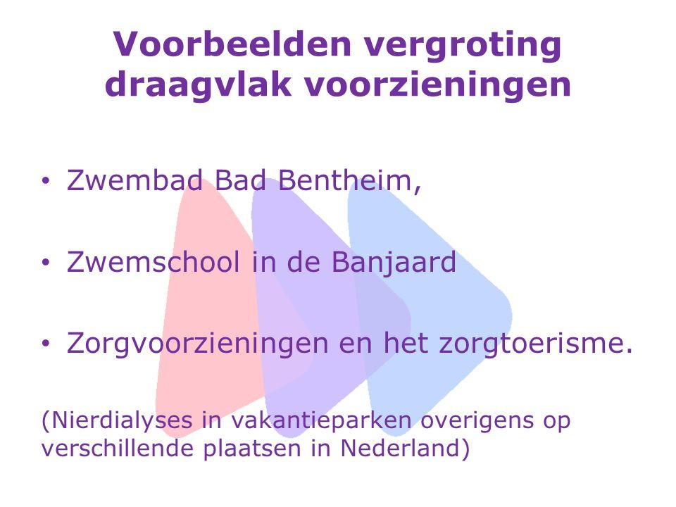 Voorbeelden vergroting draagvlak voorzieningen Zwembad Bad Bentheim, Zwemschool in de Banjaard Zorgvoorzieningen en het zorgtoerisme. (Nierdialyses in