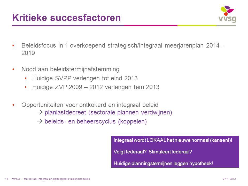 VVSG - Kritieke succesfactoren Beleidsfocus in 1 overkoepend strategisch/integraal meerjarenplan 2014 – 2019 Nood aan beleidstermijnafstemming Huidige