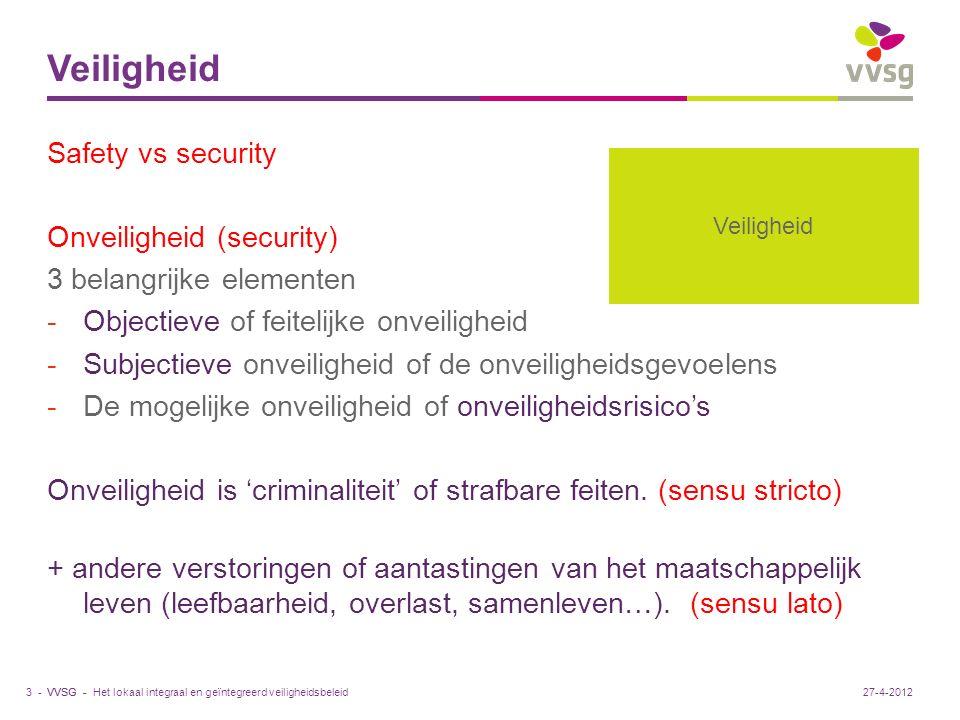 VVSG - Veiligheid Safety vs security Onveiligheid (security) 3 belangrijke elementen -Objectieve of feitelijke onveiligheid -Subjectieve onveiligheid of de onveiligheidsgevoelens -De mogelijke onveiligheid of onveiligheidsrisico's Onveiligheid is 'criminaliteit' of strafbare feiten.