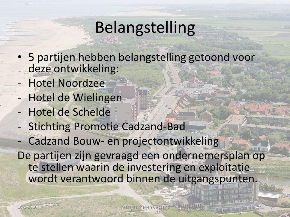 Belangstelling 5 partijen hebben belangstelling getoond voor deze ontwikkeling: -Hotel Noordzee -Hotel de Wielingen -Hotel de Schelde -Stichting Promotie Cadzand-Bad -Cadzand Bouw- en projectontwikkeling De partijen zijn gevraagd een ondernemersplan op te stellen waarin de investering en exploitatie wordt verantwoord binnen de uitgangspunten.