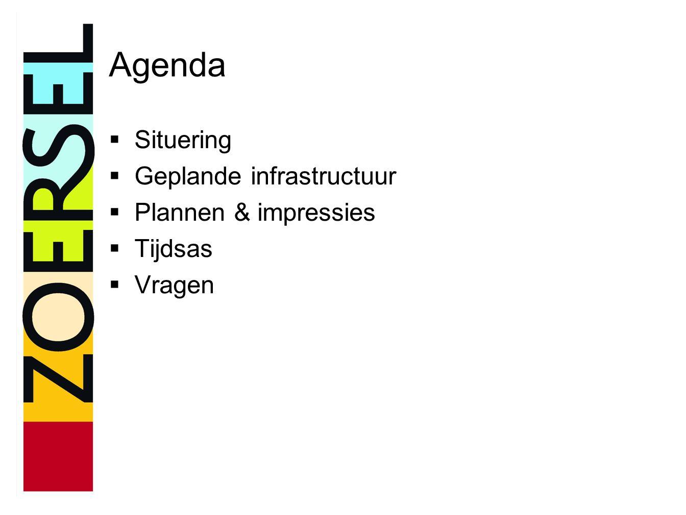 Agenda  Situering  Geplande infrastructuur  Plannen & impressies  Tijdsas  Vragen