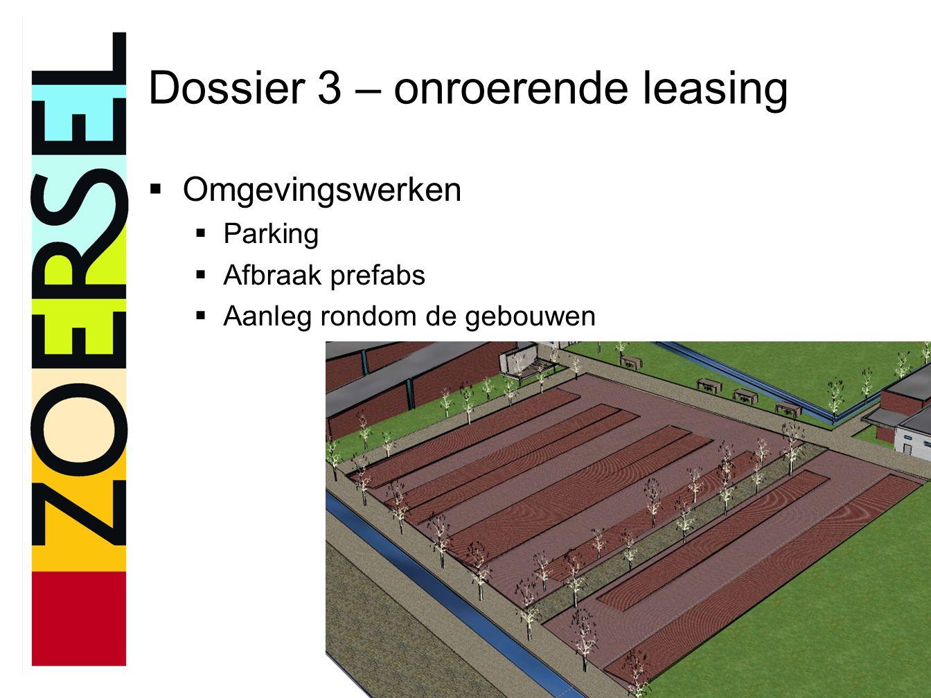 Dossier 3 – onroerende leasing  Omgevingswerken  Parking  Afbraak prefabs  Aanleg rondom de gebouwen