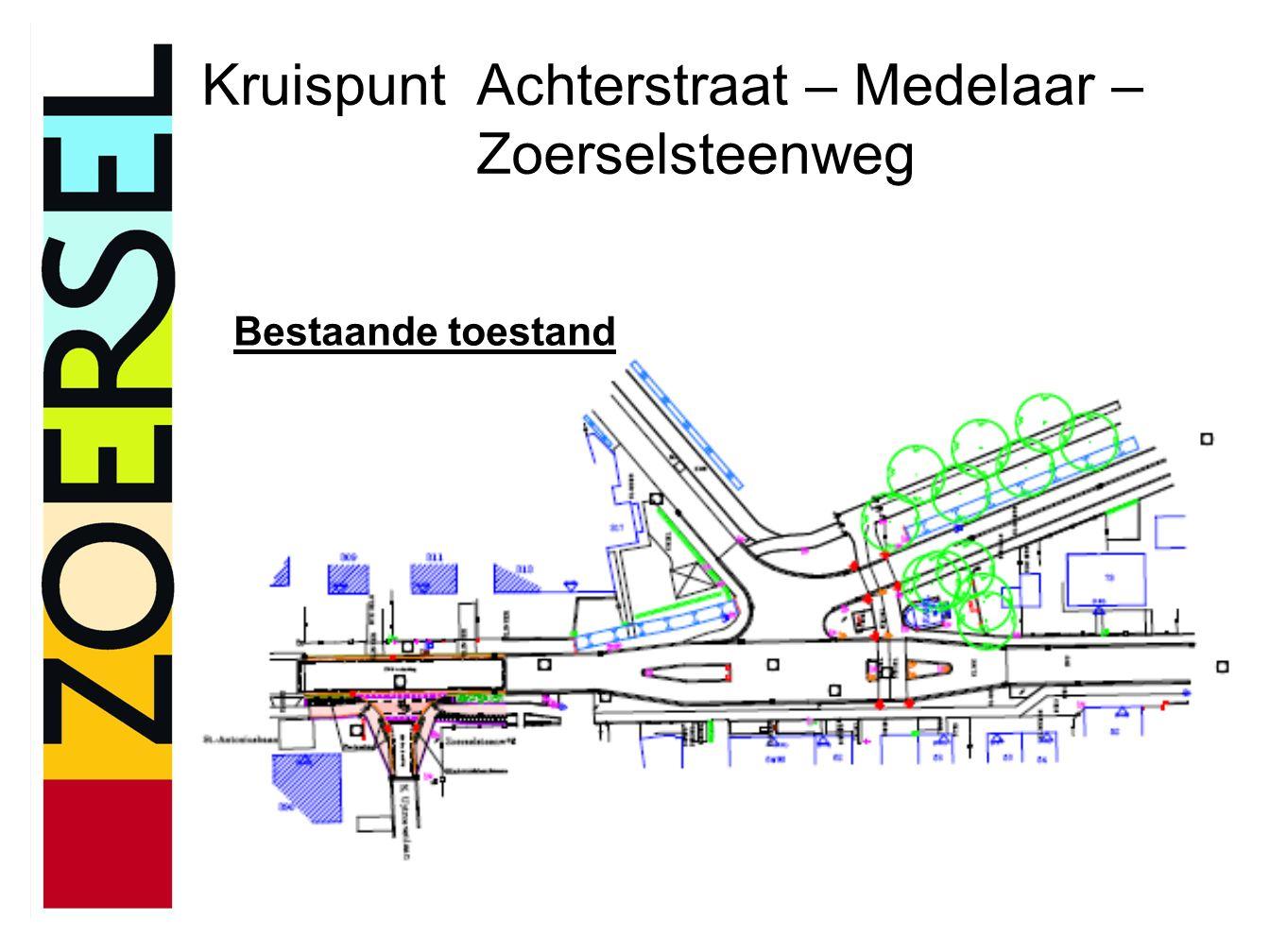 Kruispunt Achterstraat – Medelaar – Zoerselsteenweg Bestaande toestand