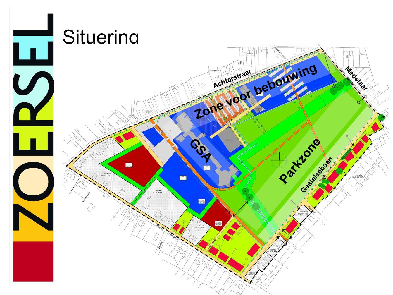 Situering Achterstraat Medelaar Gestelsebaan GSA Parkzone Zone voor bebouwing