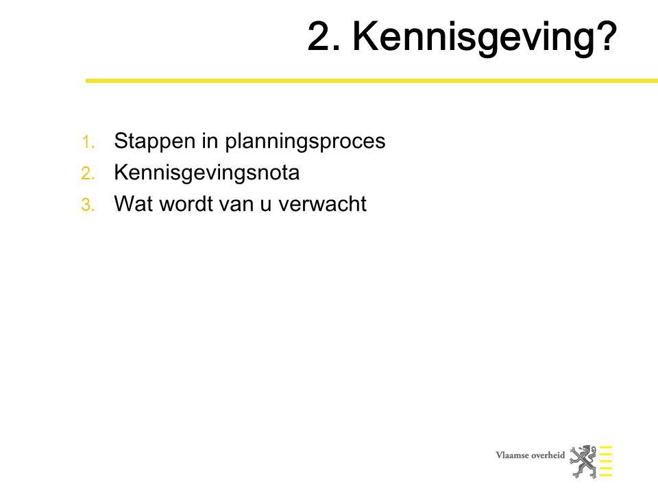 1. Stappen in planningsproces 2. Kennisgevingsnota 3. Wat wordt van u verwacht