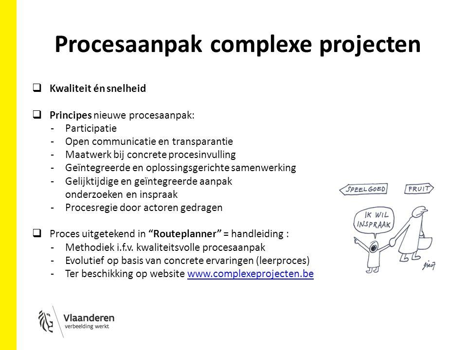 Procesaanpak complexe projecten  Kwaliteit én snelheid  Principes nieuwe procesaanpak: -Participatie -Open communicatie en transparantie -Maatwerk bij concrete procesinvulling -Geïntegreerde en oplossingsgerichte samenwerking -Gelijktijdige en geïntegreerde aanpak onderzoeken en inspraak -Procesregie door actoren gedragen  Proces uitgetekend in Routeplanner = handleiding : -Methodiek i.f.v.