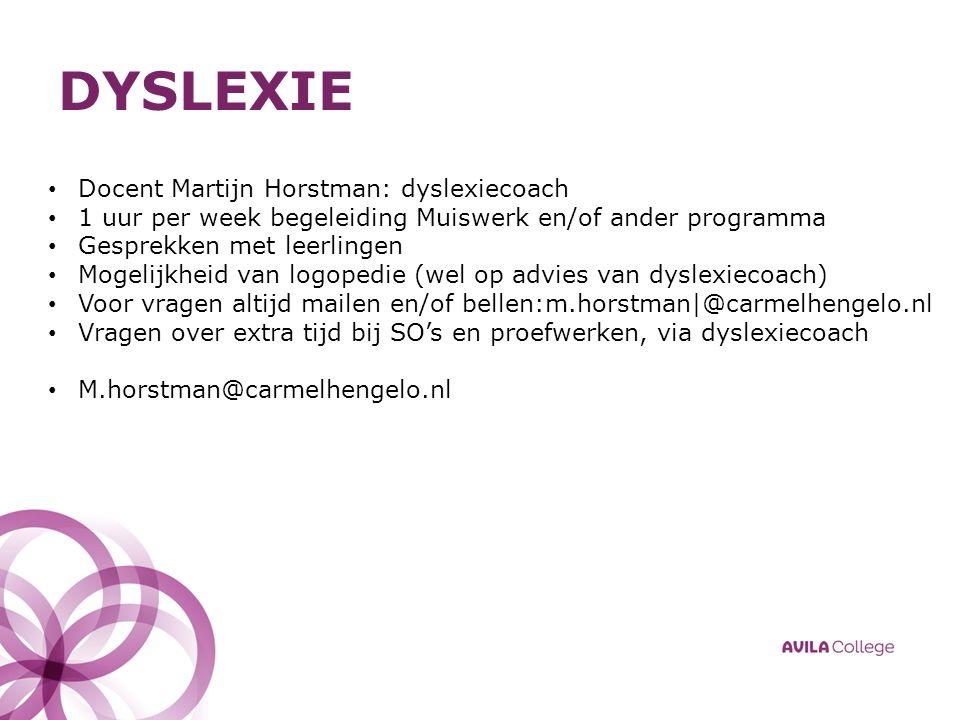 DYSLEXIE Docent Martijn Horstman: dyslexiecoach 1 uur per week begeleiding Muiswerk en/of ander programma Gesprekken met leerlingen Mogelijkheid van l