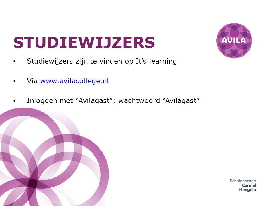 """STUDIEWIJZERS Studiewijzers zijn te vinden op It's learning Via www.avilacollege.nlwww.avilacollege.nl Inloggen met """"Avilagast""""; wachtwoord """"Avilagast"""