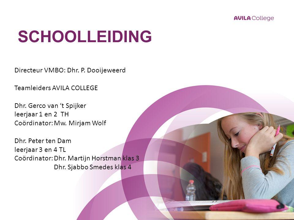 SCHOOLLEIDING Directeur VMBO: Dhr. P. Dooijeweerd Teamleiders AVILA COLLEGE Dhr.