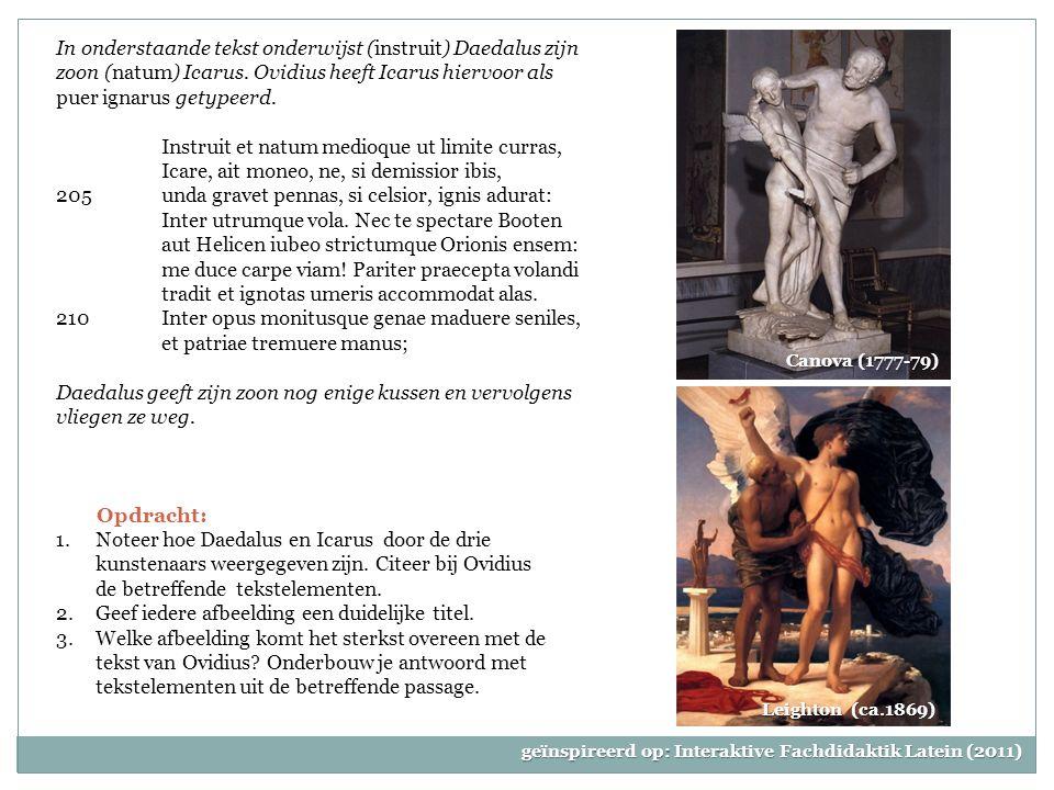In onderstaande tekst onderwijst (instruit) Daedalus zijn zoon (natum) Icarus.