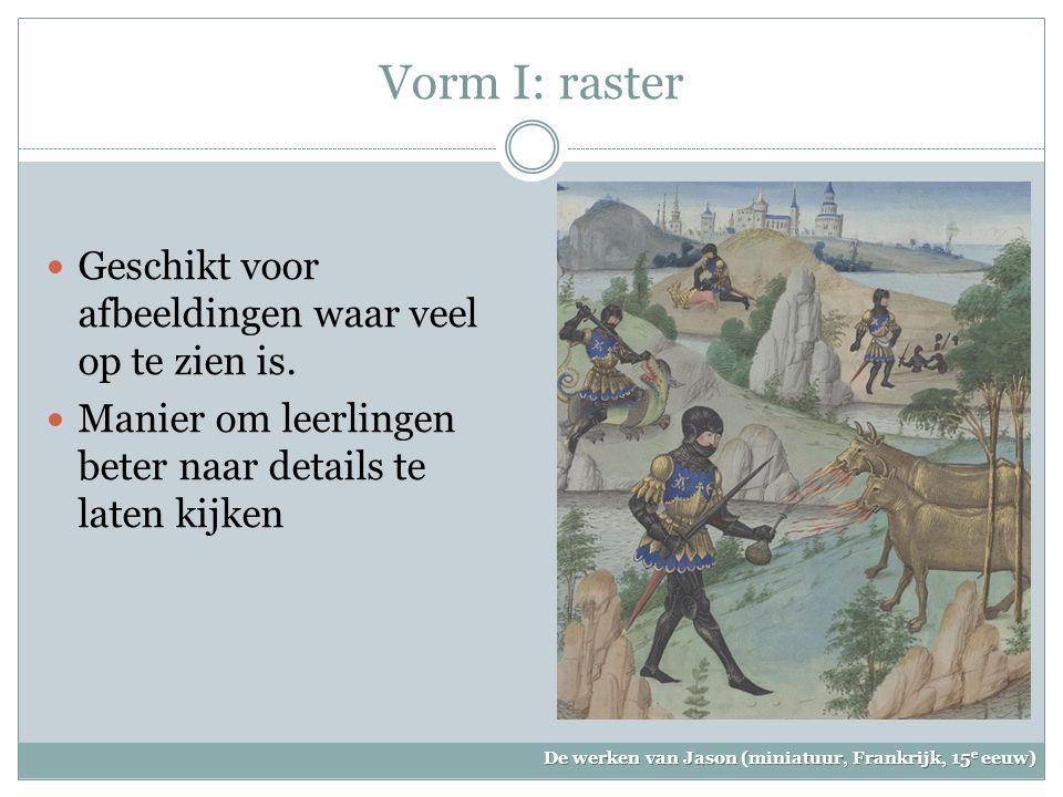 Vorm I: raster Geschikt voor afbeeldingen waar veel op te zien is.