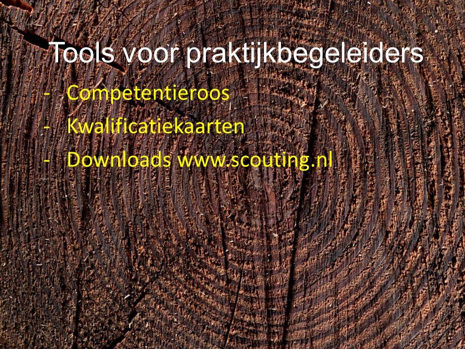 Tools voor praktijkbegeleiders -Competentieroos -Kwalificatiekaarten -Downloads www.scouting.nl 14