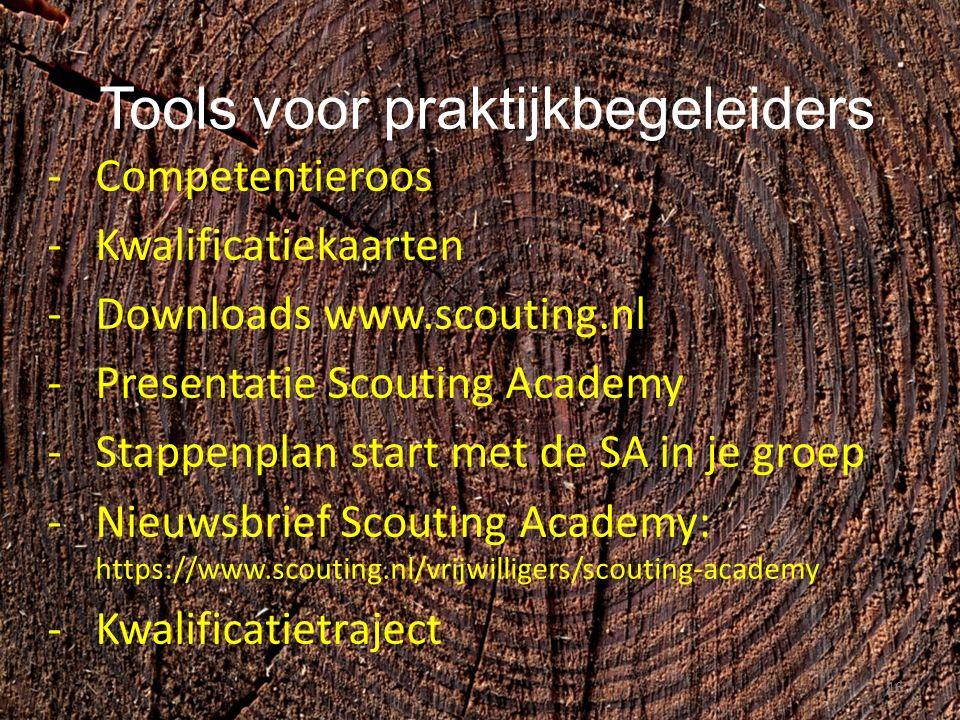 Tools voor praktijkbegeleiders -Competentieroos -Kwalificatiekaarten -Downloads www.scouting.nl -Presentatie Scouting Academy -Stappenplan start met de SA in je groep -Nieuwsbrief Scouting Academy: https://www.scouting.nl/vrijwilligers/scouting-academy -Kwalificatietraject 16
