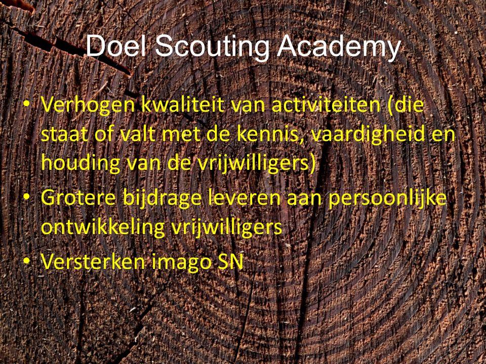 Doel Scouting Academy Verhogen kwaliteit van activiteiten (die staat of valt met de kennis, vaardigheid en houding van de vrijwilligers) Grotere bijdrage leveren aan persoonlijke ontwikkeling vrijwilligers Versterken imago SN 4