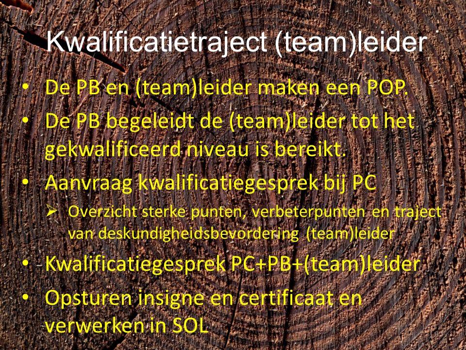 Kwalificatietraject (team)leider De PB en (team)leider maken een POP.