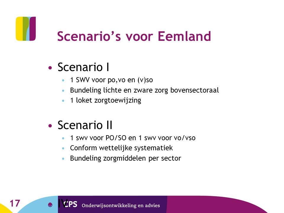 Scenario's voor Eemland Scenario I 1 SWV voor po,vo en (v)so Bundeling lichte en zware zorg bovensectoraal 1 loket zorgtoewijzing Scenario II 1 swv vo