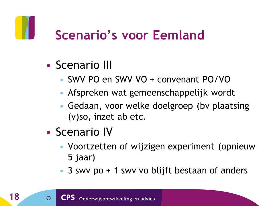 Scenario's voor Eemland Scenario III SWV PO en SWV VO + convenant PO/VO Afspreken wat gemeenschappelijk wordt Gedaan, voor welke doelgroep (bv plaatsi