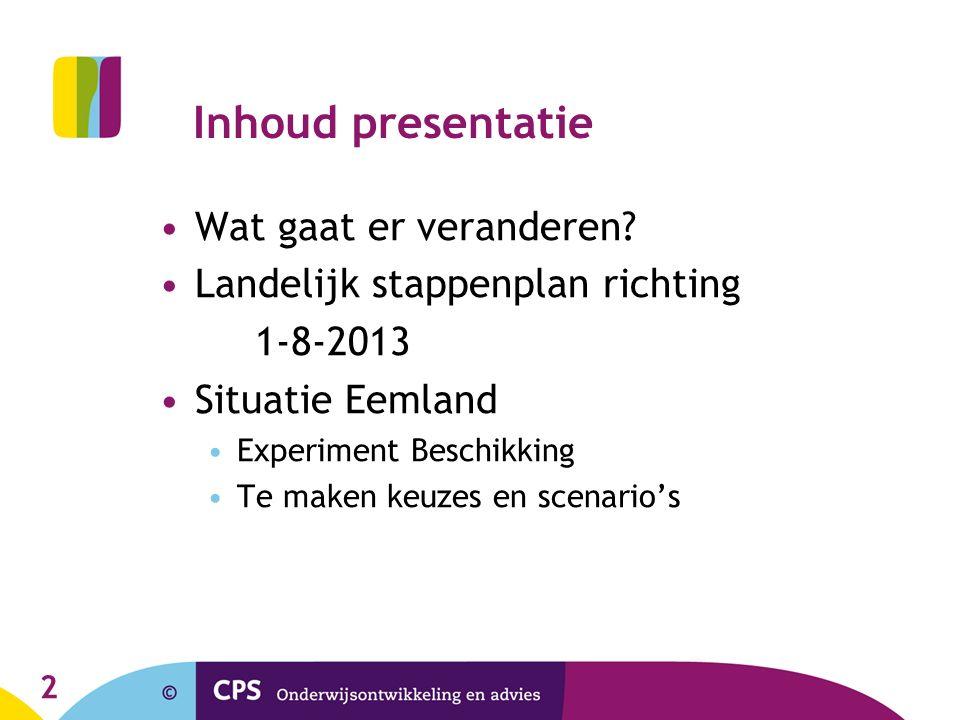 Inhoud presentatie Wat gaat er veranderen? Landelijk stappenplan richting 1-8-2013 Situatie Eemland Experiment Beschikking Te maken keuzes en scenario