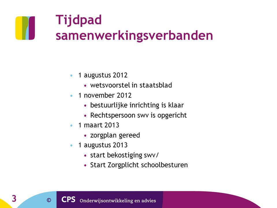 3 Tijdpad samenwerkingsverbanden 1 augustus 2012 wetsvoorstel in staatsblad 1 november 2012 bestuurlijke inrichting is klaar Rechtspersoon swv is opge