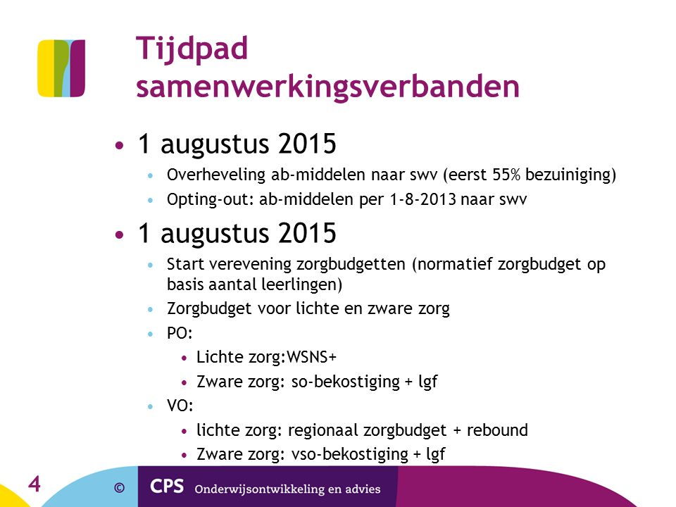 Tijdpad samenwerkingsverbanden 1 augustus 2015 Overheveling ab-middelen naar swv (eerst 55% bezuiniging) Opting-out: ab-middelen per 1-8-2013 naar swv 1 augustus 2015 Start verevening zorgbudgetten (normatief zorgbudget op basis aantal leerlingen) Zorgbudget voor lichte en zware zorg PO: Lichte zorg:WSNS+ Zware zorg: so-bekostiging + lgf VO: lichte zorg: regionaal zorgbudget + rebound Zware zorg: vso-bekostiging + lgf 4