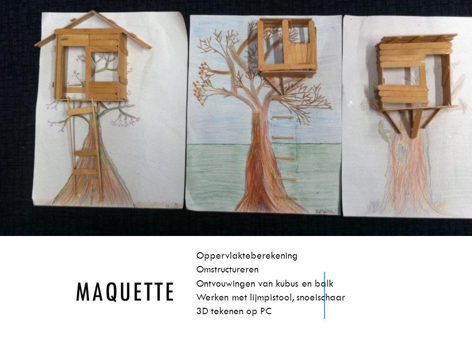 MAQUETTE Oppervlakteberekening Omstructureren Ontvouwingen van kubus en balk Werken met lijmpistool, snoeischaar 3D tekenen op PC
