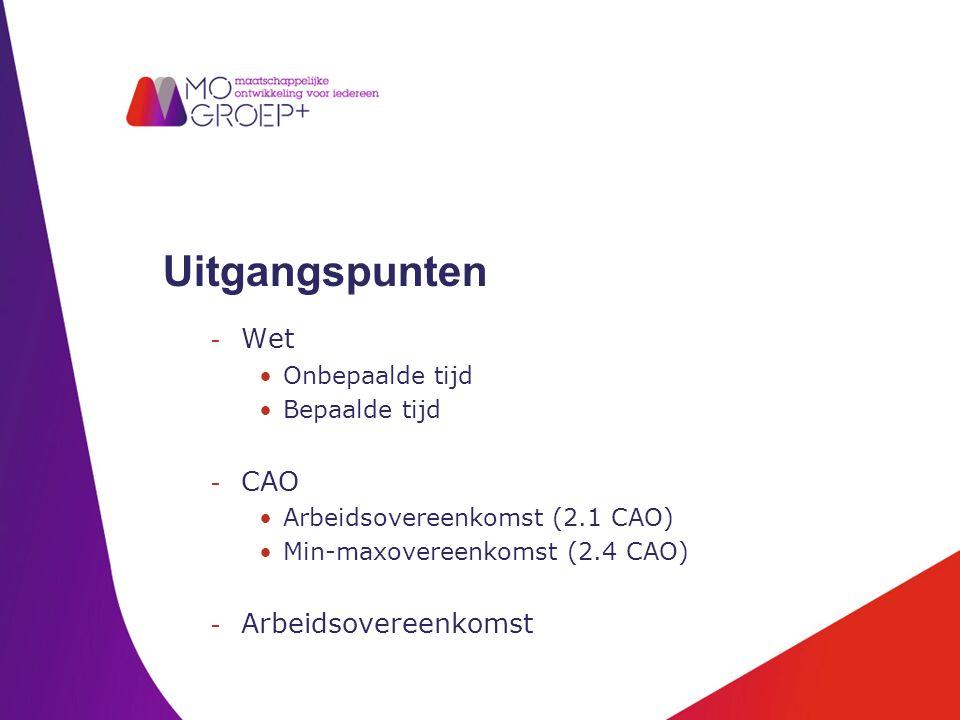 Uitgangspunten - Wet Onbepaalde tijd Bepaalde tijd - CAO Arbeidsovereenkomst (2.1 CAO) Min-maxovereenkomst (2.4 CAO) - Arbeidsovereenkomst