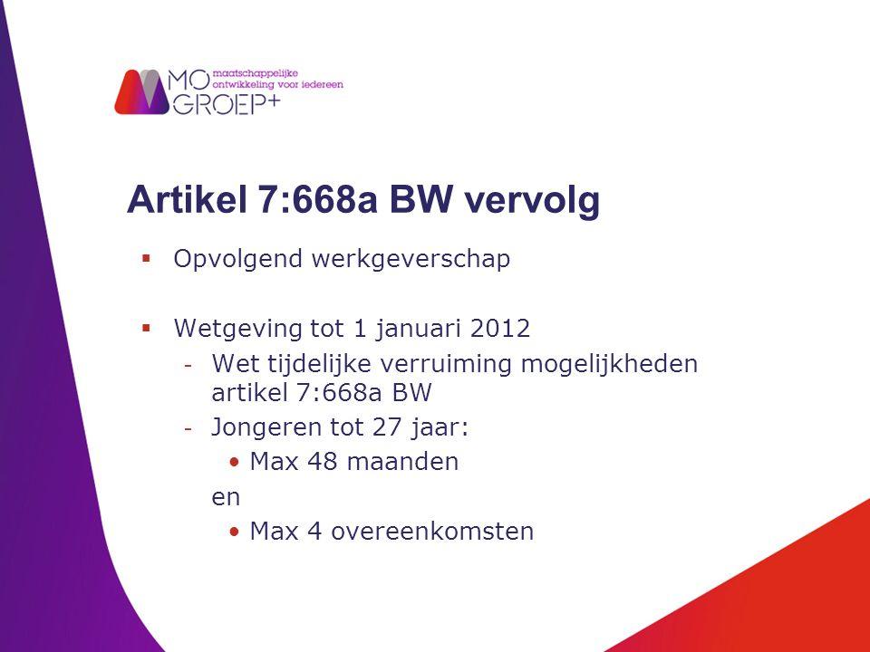 Artikel 7:668a BW vervolg  Opvolgend werkgeverschap  Wetgeving tot 1 januari 2012 - Wet tijdelijke verruiming mogelijkheden artikel 7:668a BW - Jong