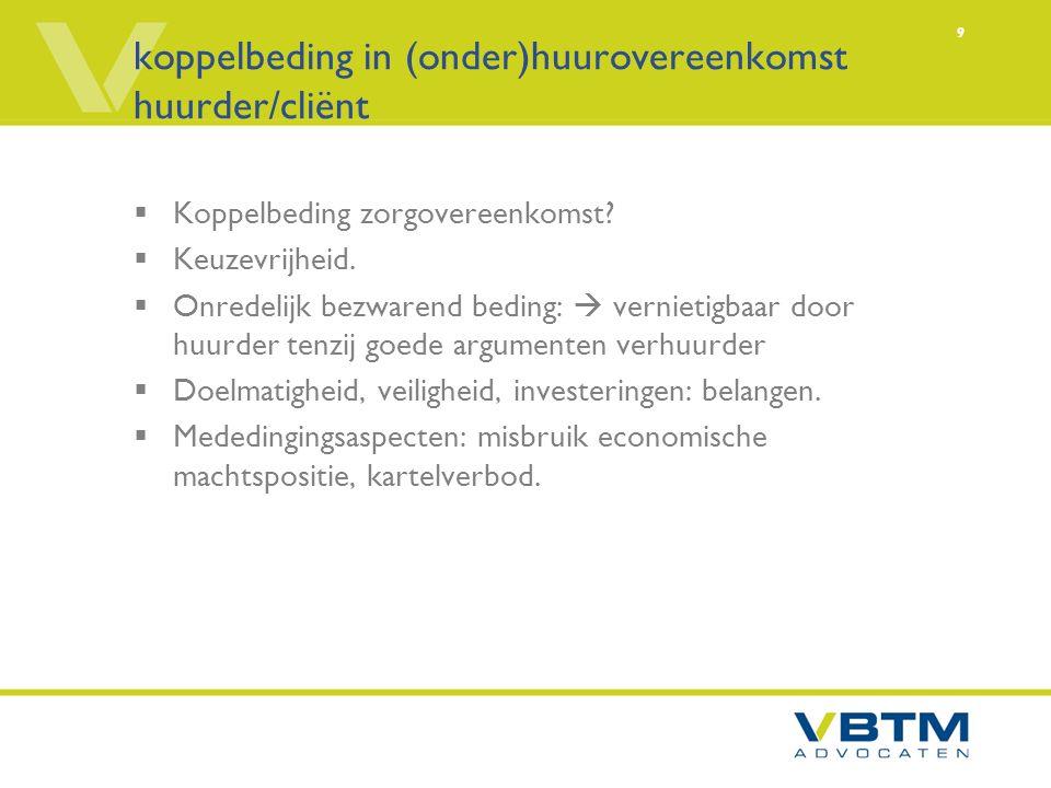 9 koppelbeding in (onder)huurovereenkomst huurder/cliënt  Koppelbeding zorgovereenkomst.