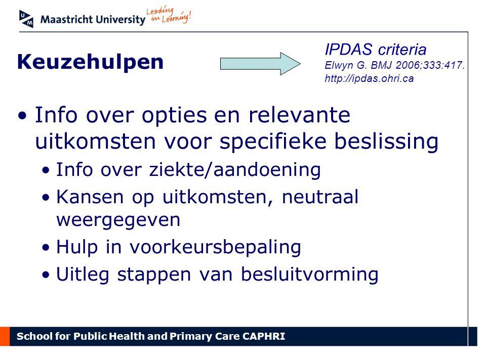 School for Public Health and Primary Care CAPHRI Keuzehulpen Info over opties en relevante uitkomsten voor specifieke beslissing Info over ziekte/aand