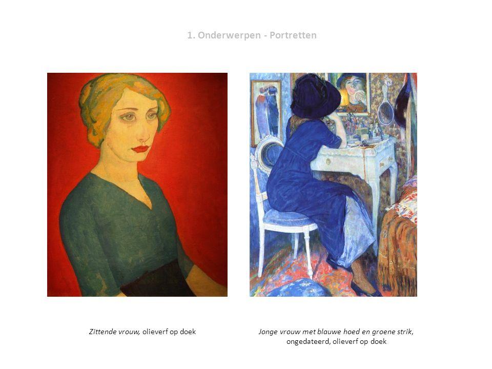 1. Onderwerpen - Portretten Zittende vrouw, olieverf op doekJonge vrouw met blauwe hoed en groene strik, ongedateerd, olieverf op doek