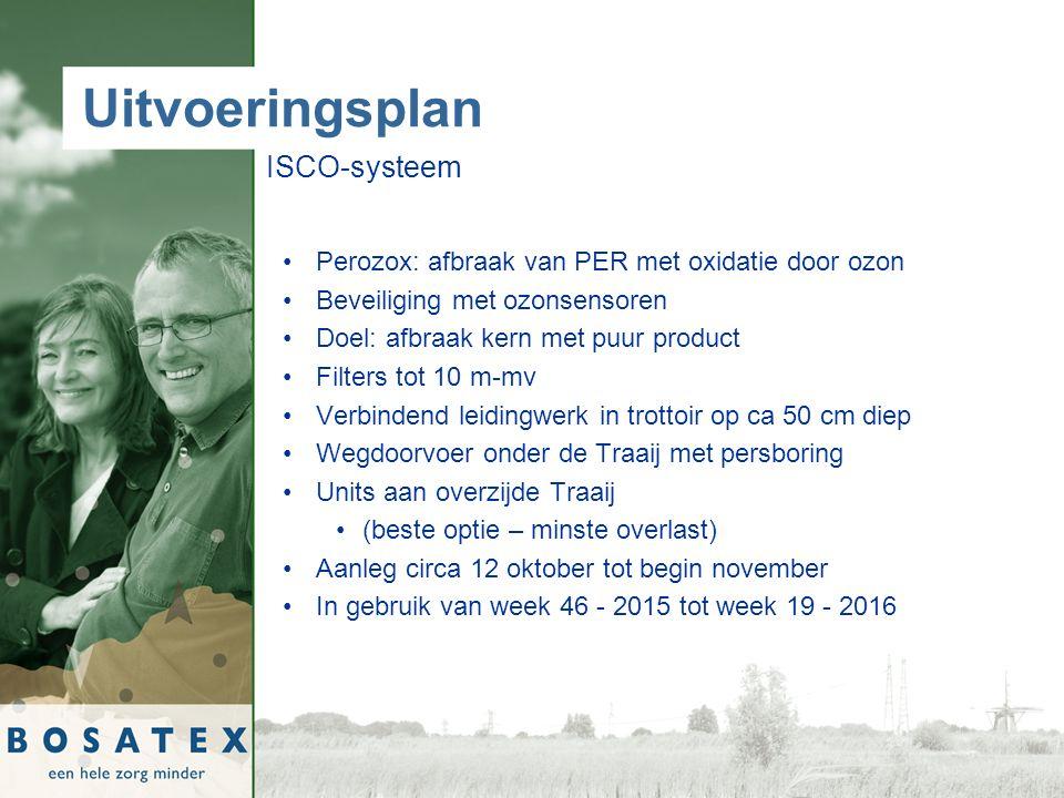 Uitvoeringsplan ISCO-systeem Perozox: afbraak van PER met oxidatie door ozon Beveiliging met ozonsensoren Doel: afbraak kern met puur product Filters tot 10 m-mv Verbindend leidingwerk in trottoir op ca 50 cm diep Wegdoorvoer onder de Traaij met persboring Units aan overzijde Traaij (beste optie – minste overlast) Aanleg circa 12 oktober tot begin november In gebruik van week 46 - 2015 tot week 19 - 2016