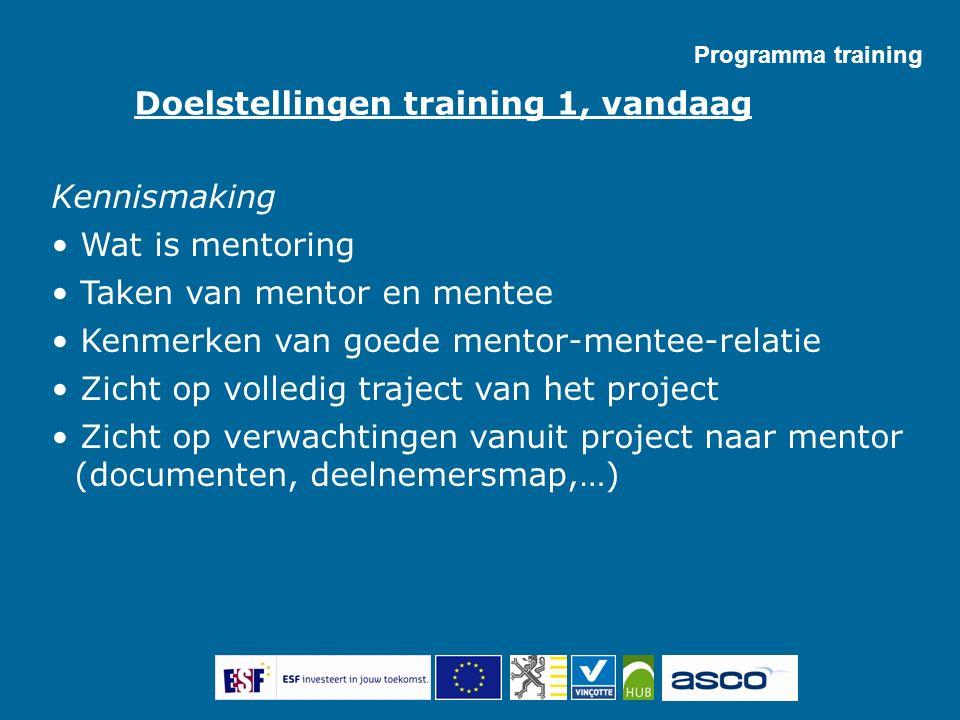 Programma training Kennismaking Wat is mentoring Taken van mentor en mentee Kenmerken van goede mentor-mentee-relatie Zicht op volledig traject van he