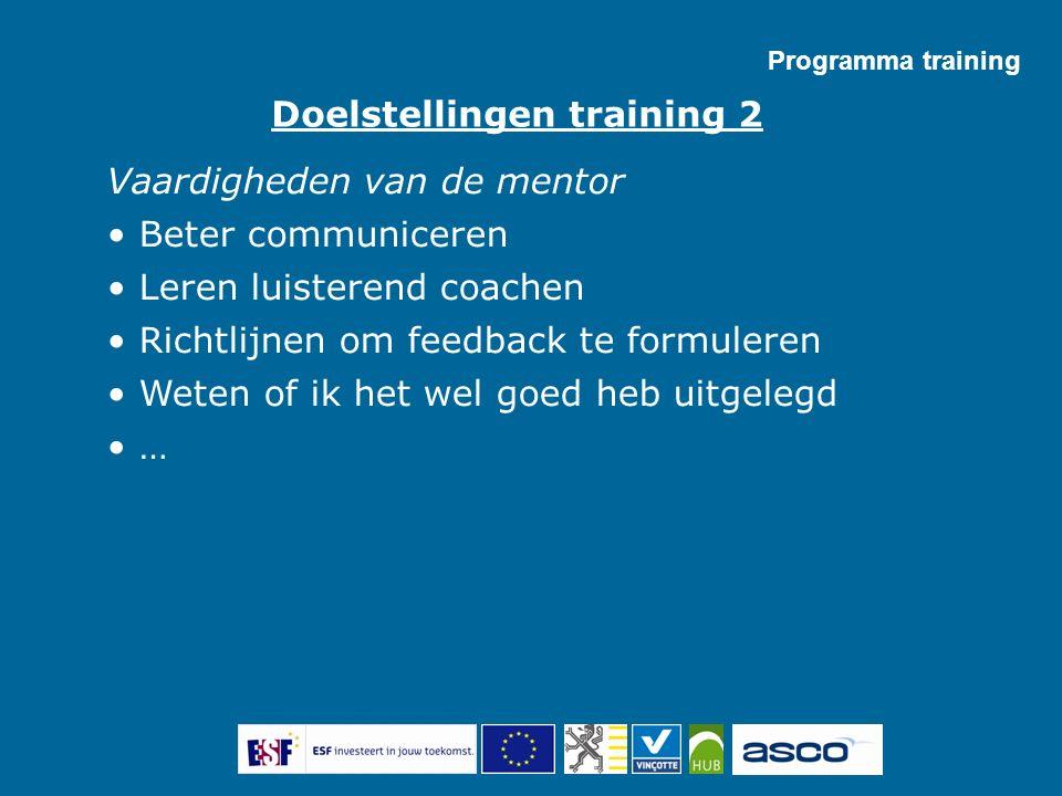Programma training Vaardigheden van de mentor Beter communiceren Leren luisterend coachen Richtlijnen om feedback te formuleren Weten of ik het wel go
