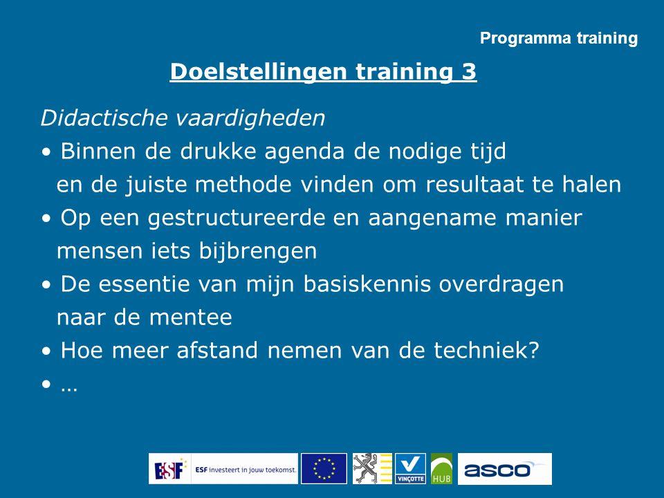Programma training Didactische vaardigheden Binnen de drukke agenda de nodige tijd en de juiste methode vinden om resultaat te halen Op een gestructur