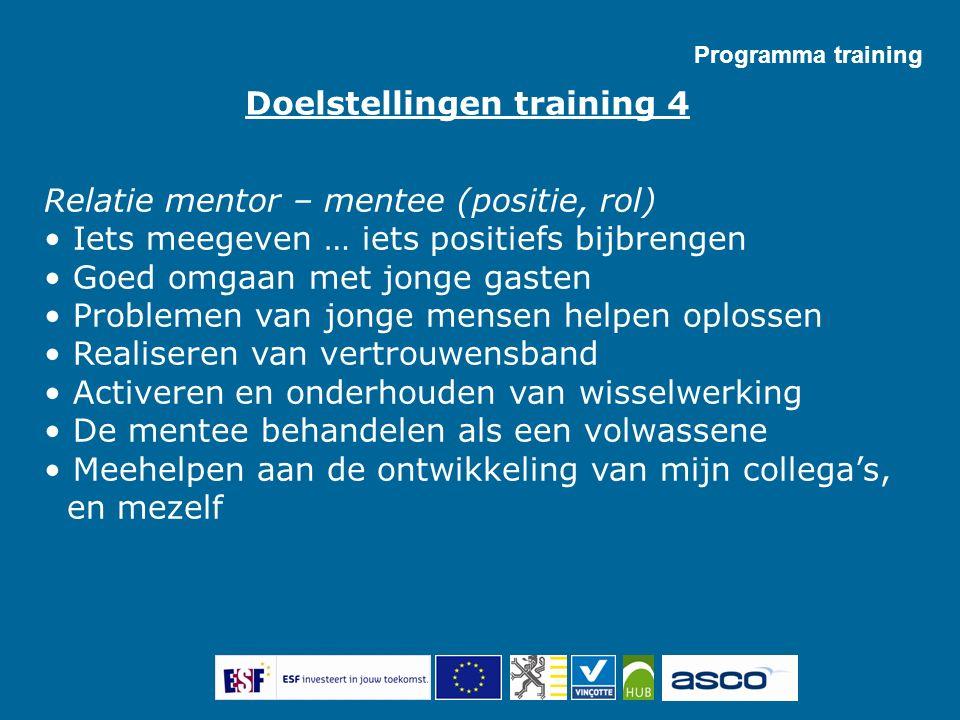 Programma training Relatie mentor – mentee (positie, rol) Iets meegeven … iets positiefs bijbrengen Goed omgaan met jonge gasten Problemen van jonge m