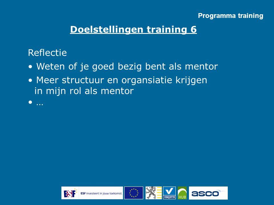 Reflectie Weten of je goed bezig bent als mentor Meer structuur en organsiatie krijgen in mijn rol als mentor … Doelstellingen training 6 Programma tr