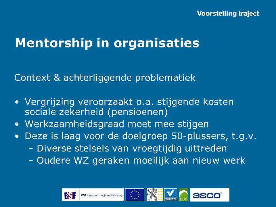 Mentorship in organisaties Context & achterliggende problematiek Vergrijzing veroorzaakt o.a. stijgende kosten sociale zekerheid (pensioenen) Werkzaam