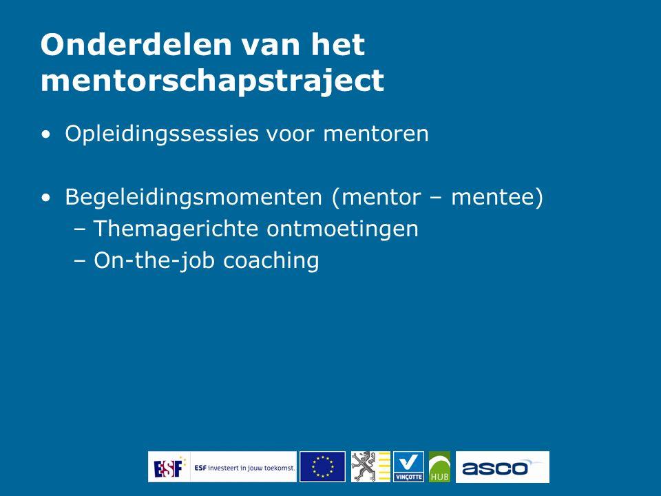 Onderdelen van het mentorschapstraject Opleidingssessies voor mentoren Begeleidingsmomenten (mentor – mentee) –Themagerichte ontmoetingen –On-the-job