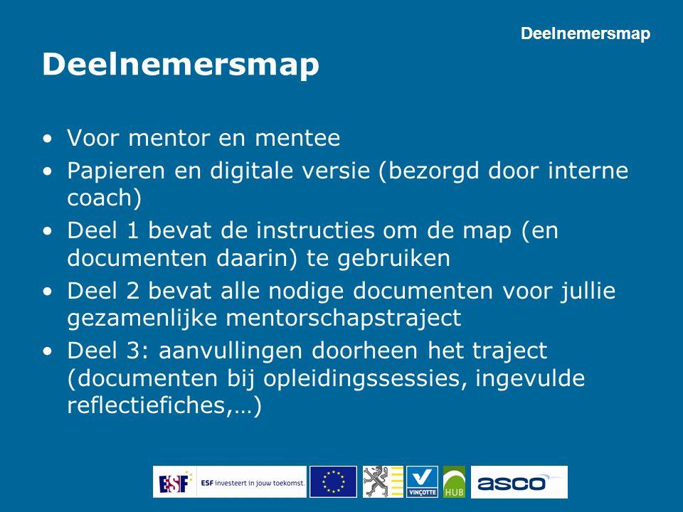 Deelnemersmap Voor mentor en mentee Papieren en digitale versie (bezorgd door interne coach) Deel 1 bevat de instructies om de map (en documenten daar