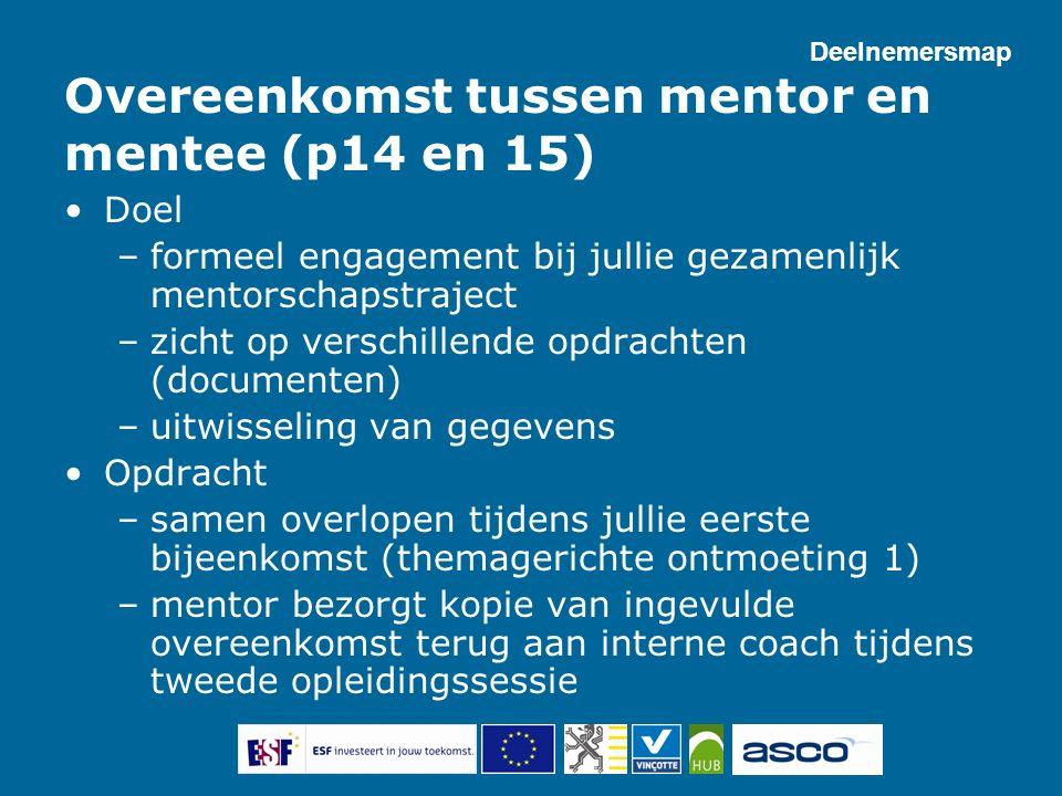 Overeenkomst tussen mentor en mentee (p14 en 15) Doel –formeel engagement bij jullie gezamenlijk mentorschapstraject –zicht op verschillende opdrachte
